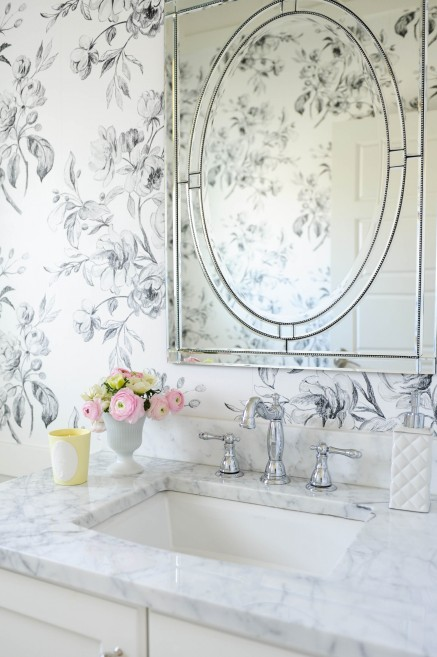 Wallpaper in the powder room hudson grey Pretty powder room ideas