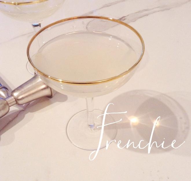 Frenchie Cocktail- 2 oz Hendricks Gin, .5 oz St. Germain, 2.5 oz Grapefruit Sanpellegrino