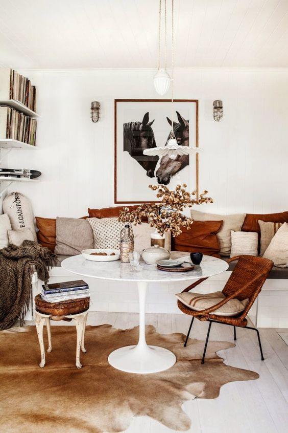 Currently Craving Cowhide Rug Hudson Grey - Cowhide rug dining room